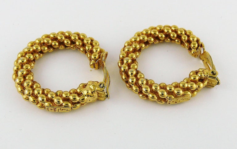 Yves Saint Laurent YSL Vintage Textured Hoop Earrings For Sale 1