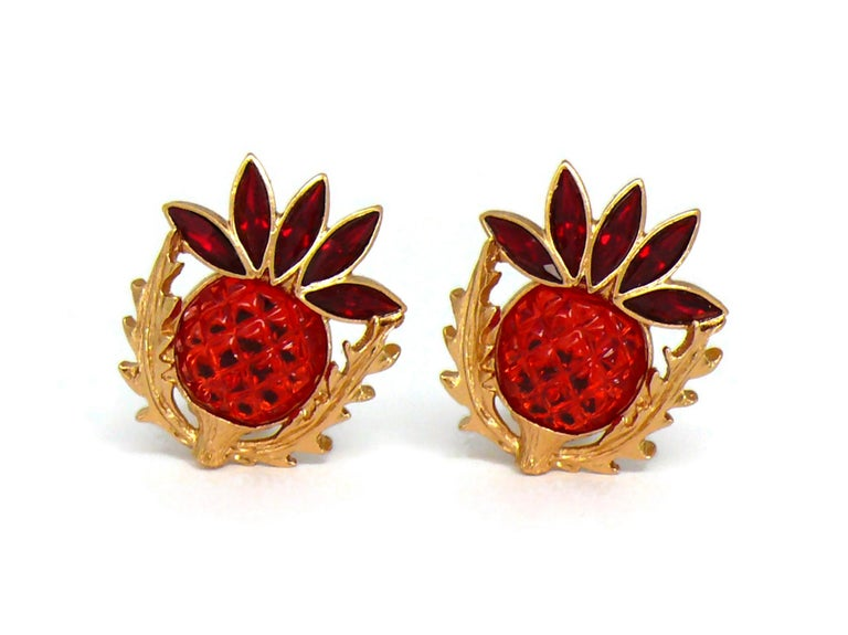 Women's Yves Saint Laurent YSL Vintage Thistle Red Resin & Crystals Clip-On Earrings For Sale