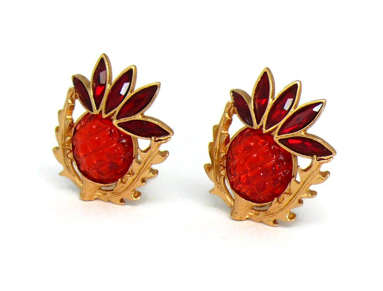 Yves Saint Laurent YSL Vintage Thistle Red Resin & Crystals Clip-On Earrings For Sale 1