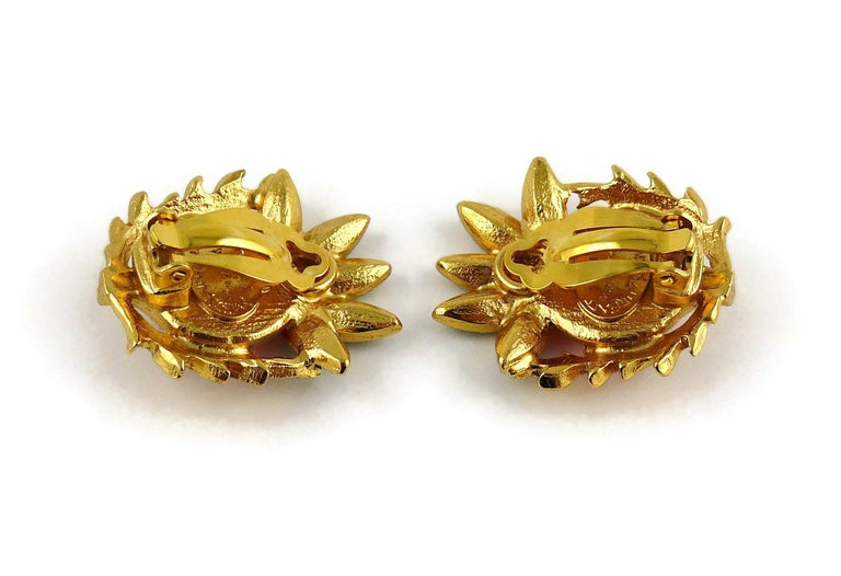 Yves Saint Laurent YSL Vintage Thistle Red Resin & Crystals Clip-On Earrings For Sale 2