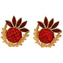 Yves Saint Laurent YSL Vintage Thistle Red Resin & Crystals Clip-On Earrings