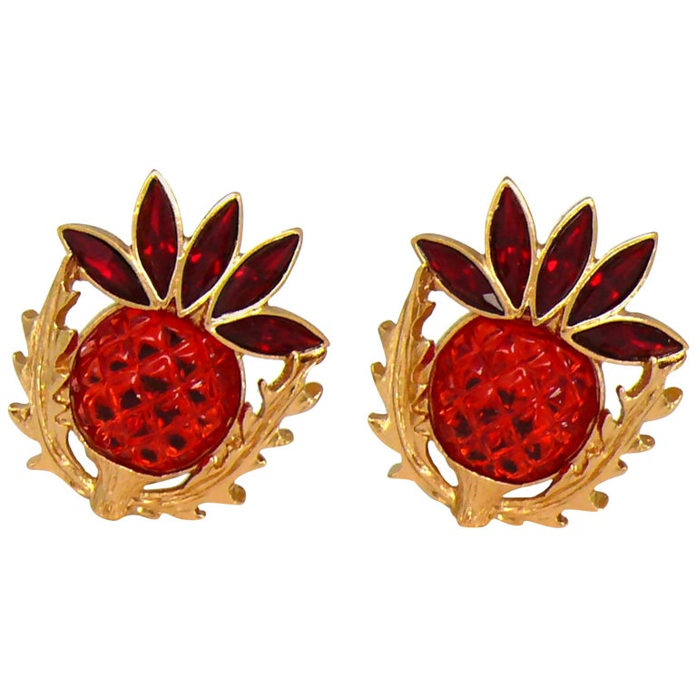 Yves Saint Laurent YSL Vintage Thistle Red Resin & Crystals Clip-On Earrings For Sale