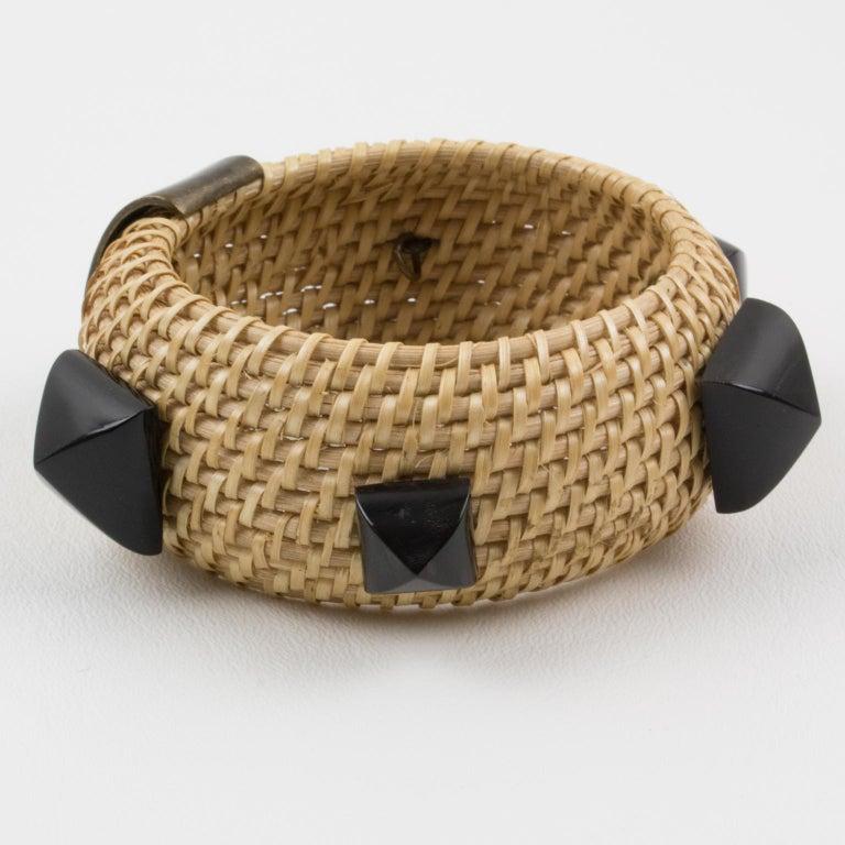 Yves Saint Laurent YSL Wicker Resin Bracelet Bangle In Excellent Condition For Sale In Atlanta, GA