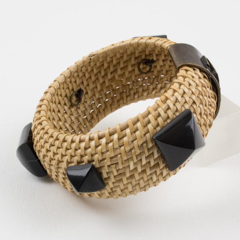 Women's Yves Saint Laurent YSL Wicker Resin Bracelet Bangle For Sale