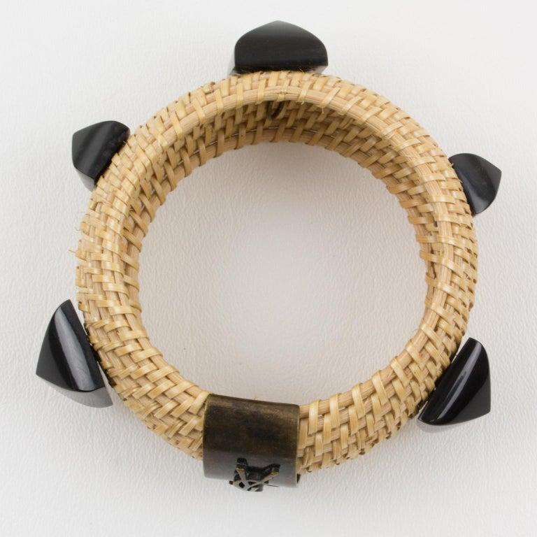 Yves Saint Laurent YSL Wicker Resin Bracelet Bangle For Sale 1