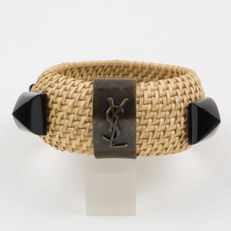 Yves Saint Laurent YSL Wicker Resin Bracelet Bangle For Sale 2