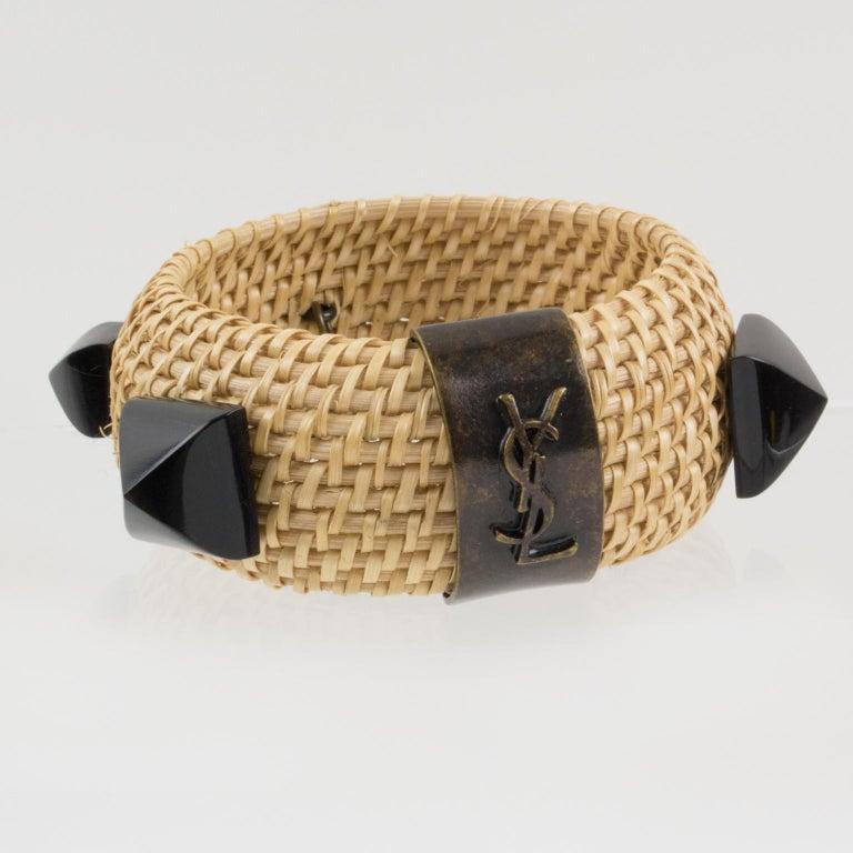 Yves Saint Laurent YSL Wicker Resin Bracelet Bangle For Sale 3