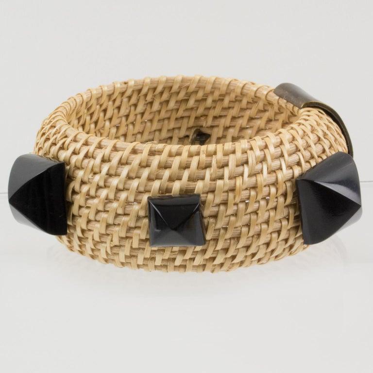 Yves Saint Laurent YSL Wicker Resin Bracelet Bangle For Sale 4