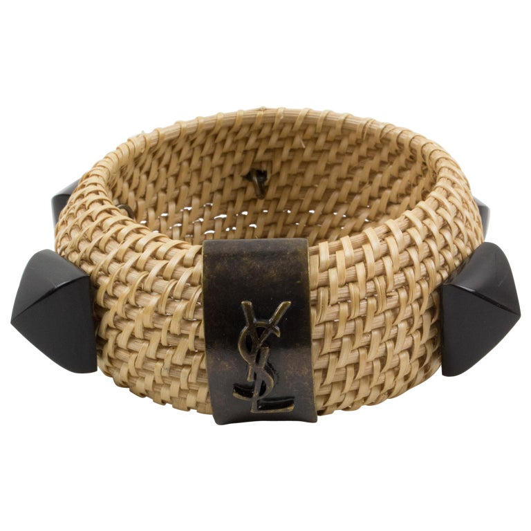 Yves Saint Laurent YSL Wicker Resin Bracelet Bangle For Sale