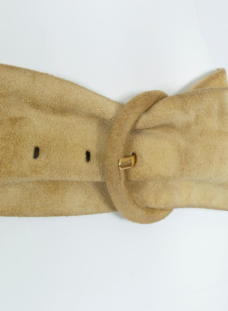 Yves Saint Laurent YSL Wide Camel Suede Belt with Covered Buckle – XS-S, 1980s For Sale 2