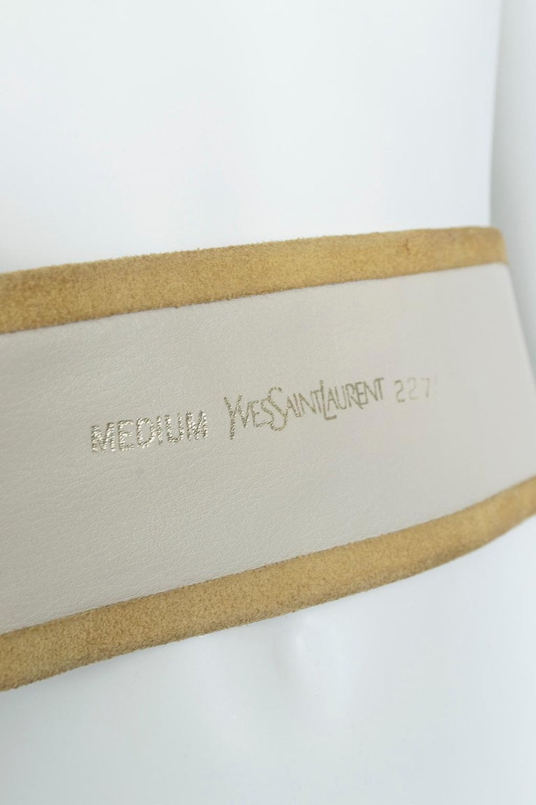 Yves Saint Laurent YSL Wide Camel Suede Belt with Covered Buckle – XS-S, 1980s For Sale 3