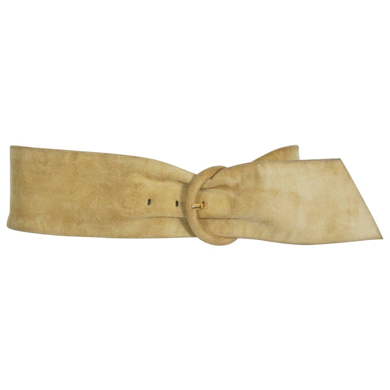Yves Saint Laurent YSL Wide Camel Suede Belt with Covered Buckle – XS-S, 1980s