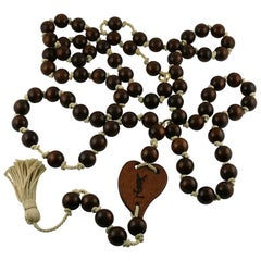 Yves Saint Laurent YSL Wood Heart Rope Tassel Extra Long Necklace