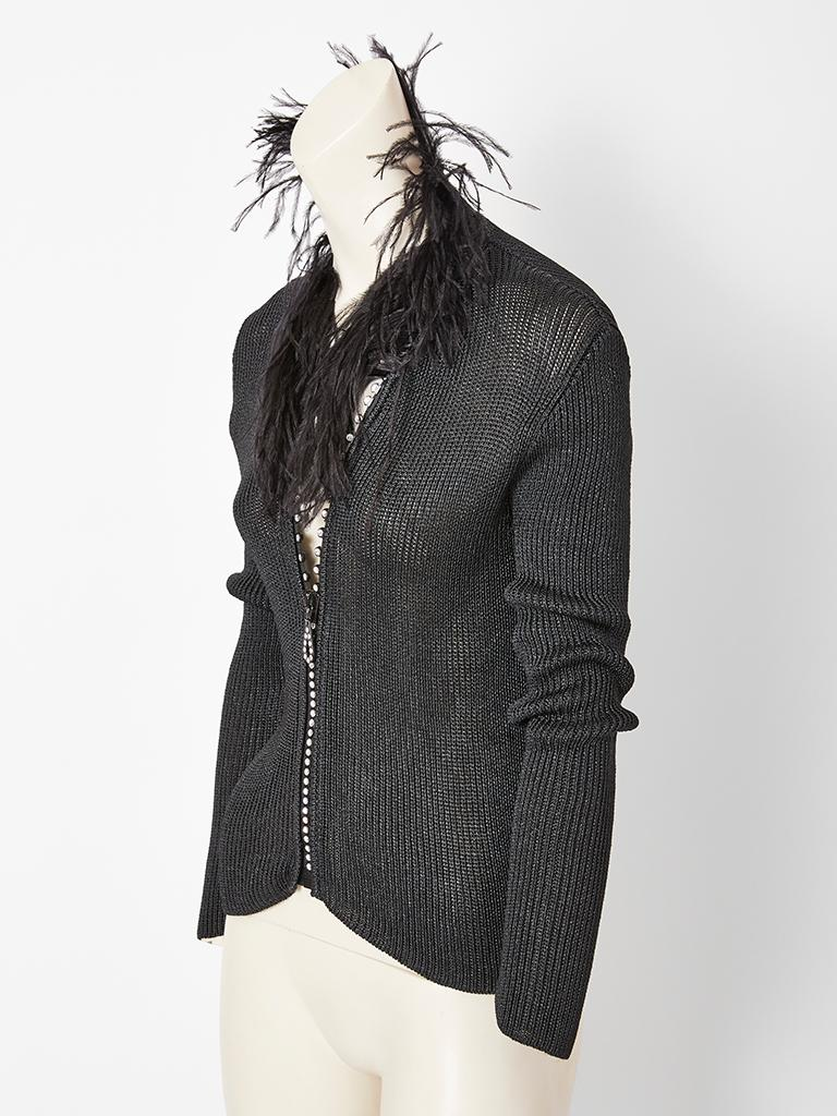 b49675a2fea Black Yves Saint Laurent Zip Front Cardigan With Feather Collar For Sale