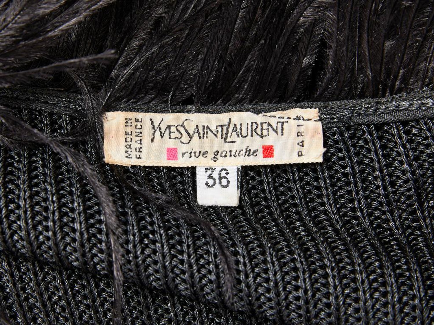 68e6abaa280 Yves Saint Laurent Zip Front Cardigan With Feather Collar For Sale at  1stdibs