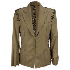 Yves Saint LaurentBeige  Animal Print Lace Up Blazer Jacket Size 36 FR