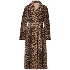Yves Saloman Lacon Reversible Leopard Print Shearling Coat