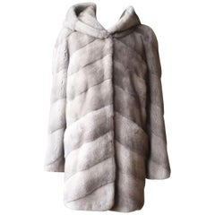 Yves Salomon Hooded Mink Fur Coat