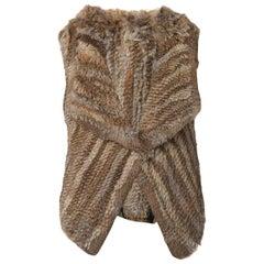 Yves Salomon Knitted Rabbit Fur Gilet