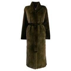 Yves Salomon Mink-Fur Belted Coat