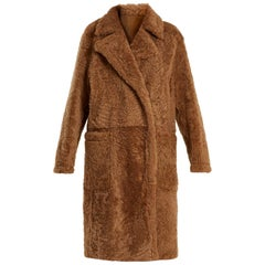 Yves Salomon Peal-Lapel Shearling Coat