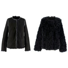 Yves Salomon Reversible Black Shearling & Lambskin Jacket SIZE FR 36 / US 4