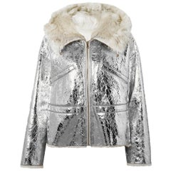 Yves Salomon Shearling-Lined Metallic Crinkled-Leather Hooded Jacket
