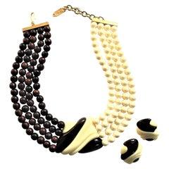 Yves Sant Laurent Paris necklace with matching  ear clip 1980s