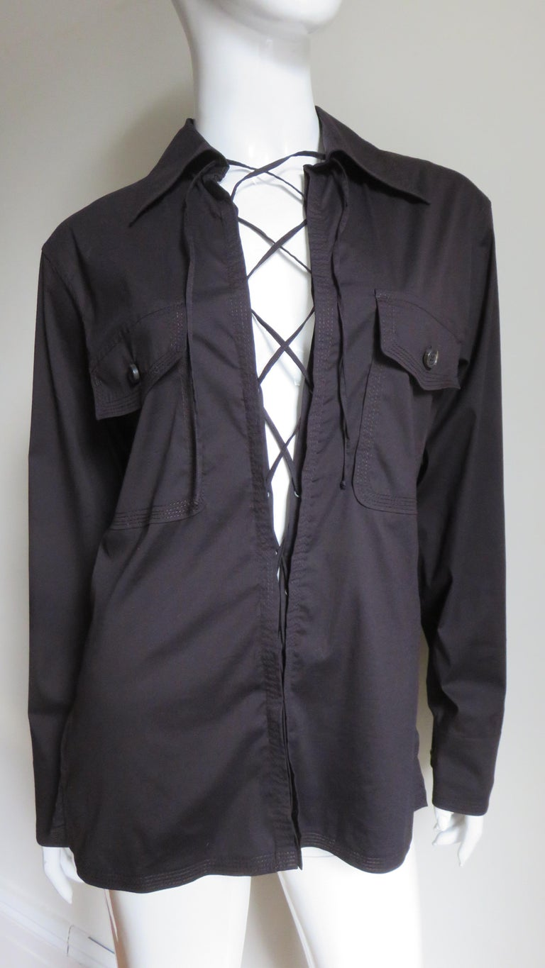 Black Tom Ford for for Yves St Laurent Lace up Safari Shirt For Sale