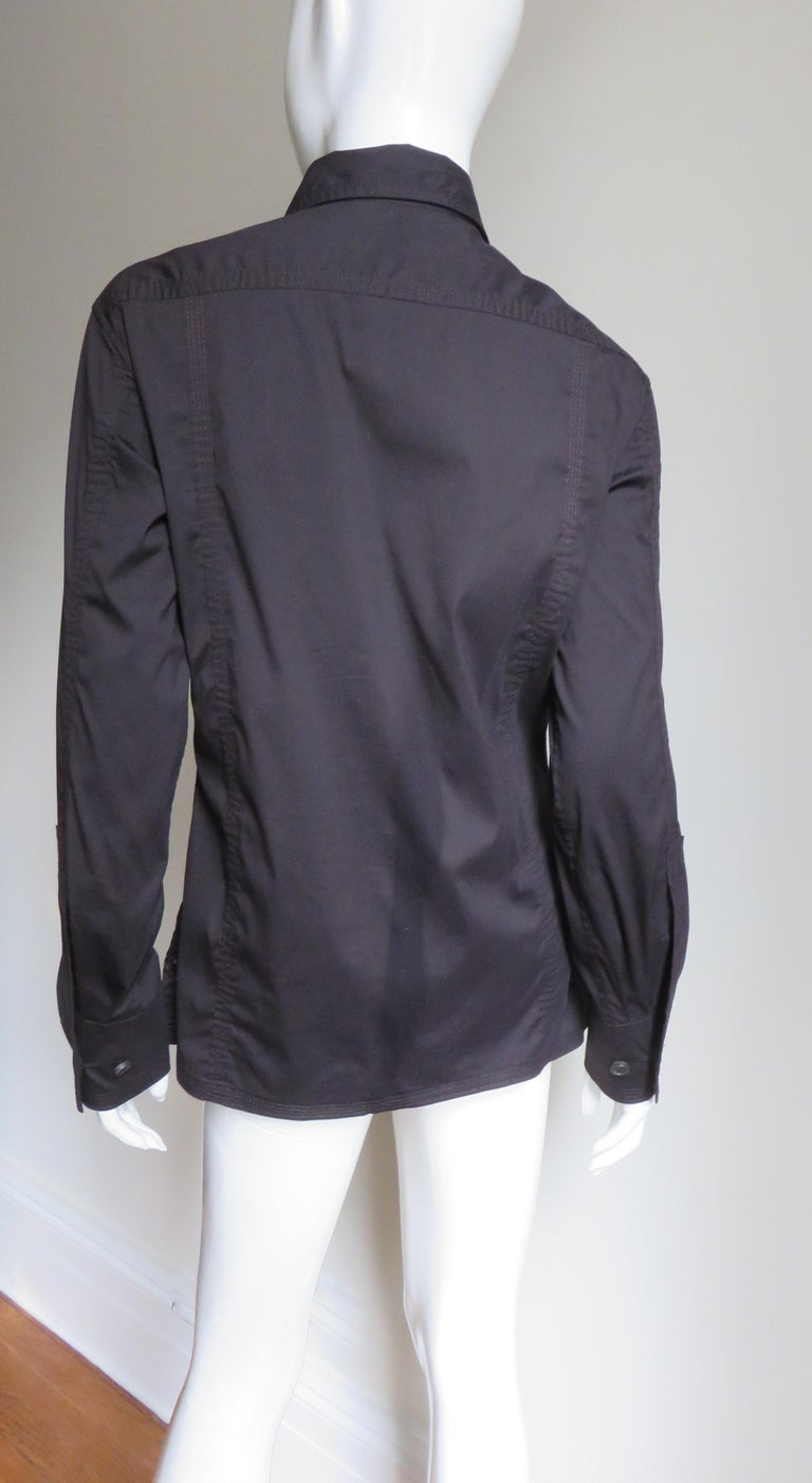 Tom Ford for for Yves St Laurent Lace up Safari Shirt For Sale 8