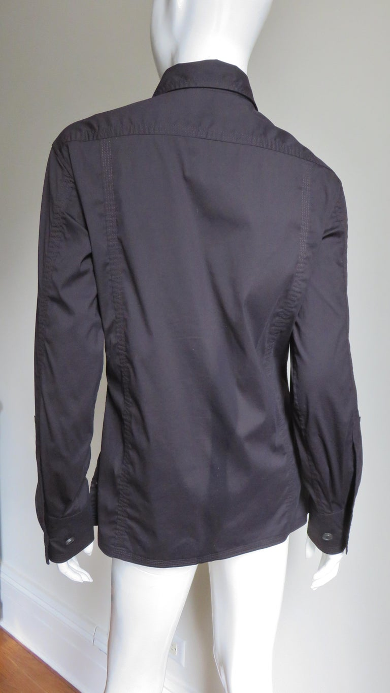 Tom Ford for for Yves St Laurent Lace up Safari Shirt For Sale 9