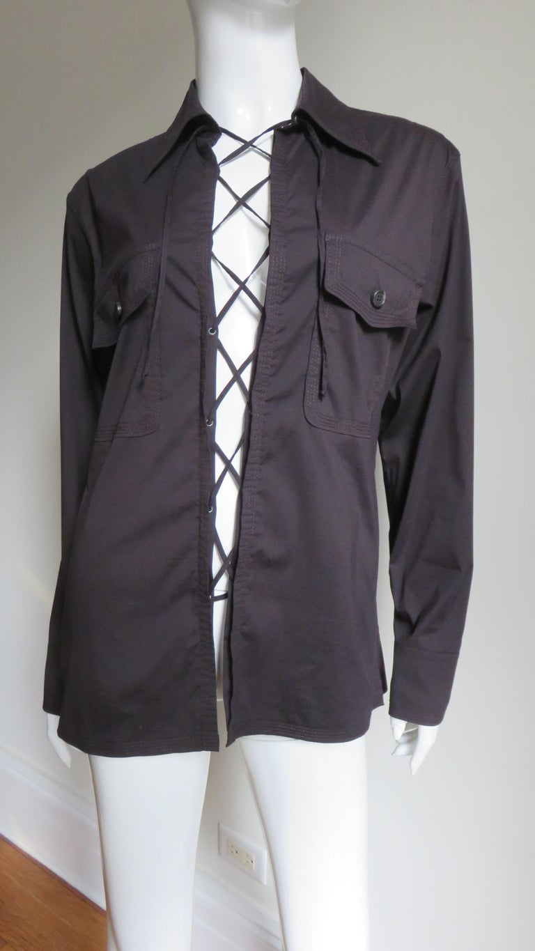 Tom Ford for for Yves St Laurent Lace up Safari Shirt In Excellent Condition For Sale In Water Mill, NY