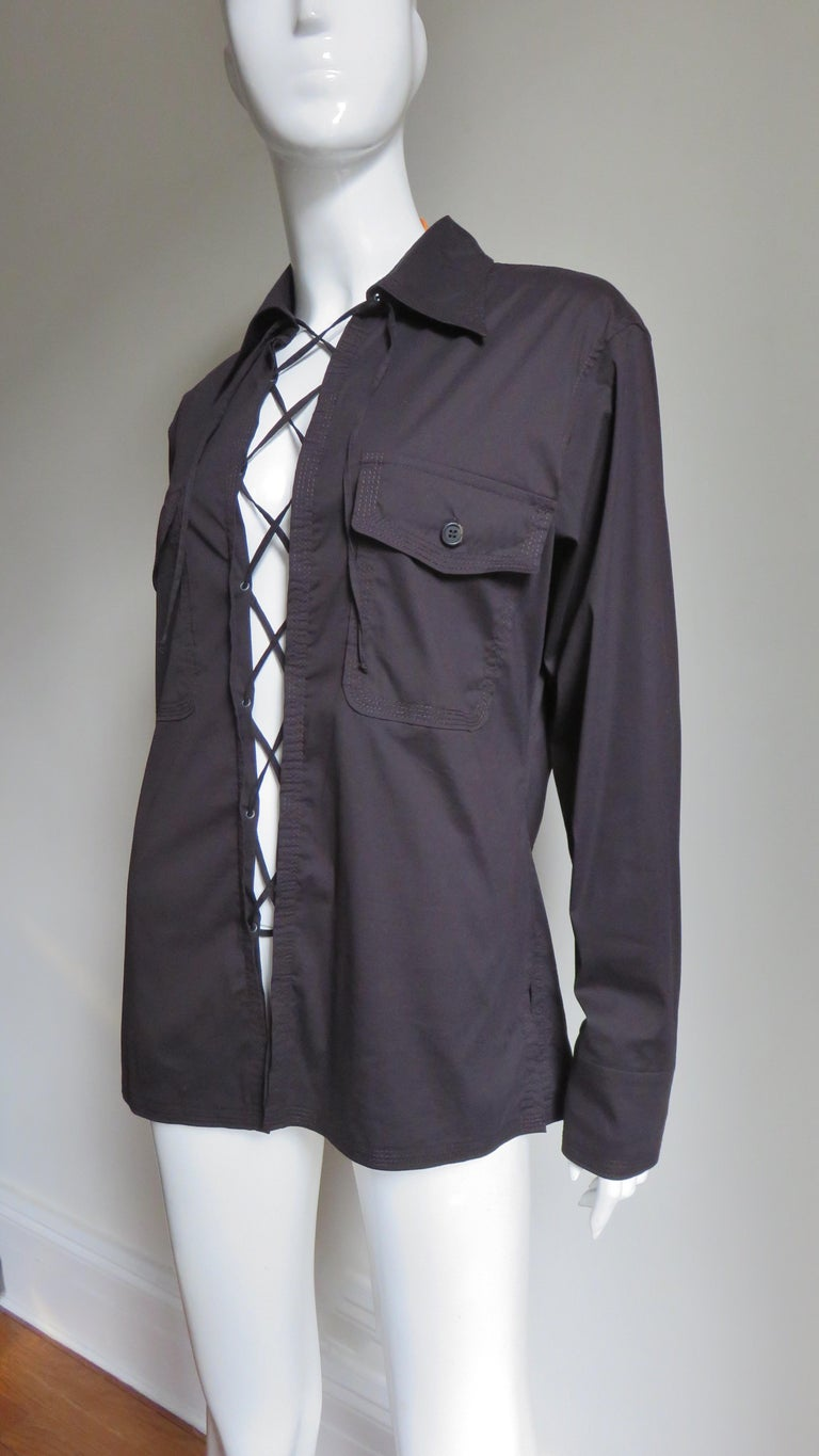 Tom Ford for for Yves St Laurent Lace up Safari Shirt For Sale 1