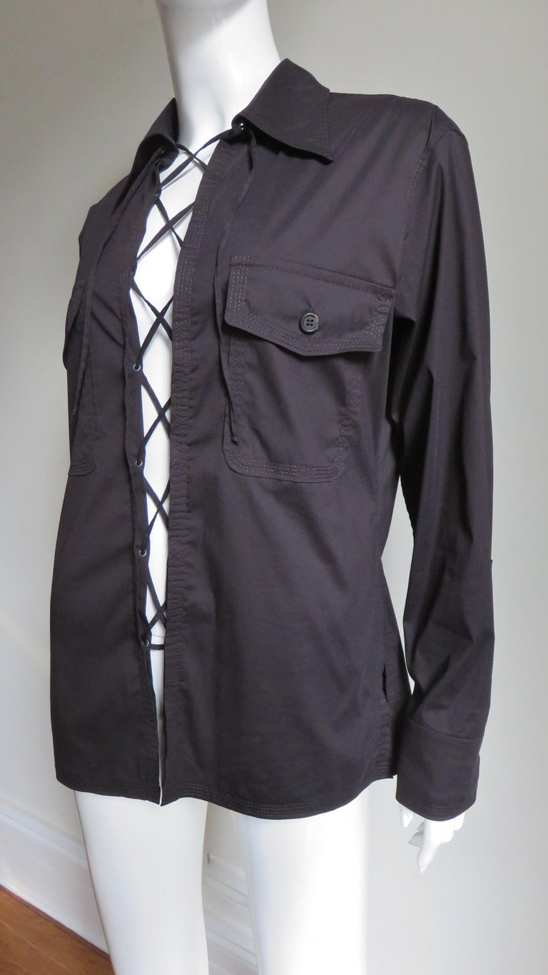 Tom Ford for for Yves St Laurent Lace up Safari Shirt For Sale 2