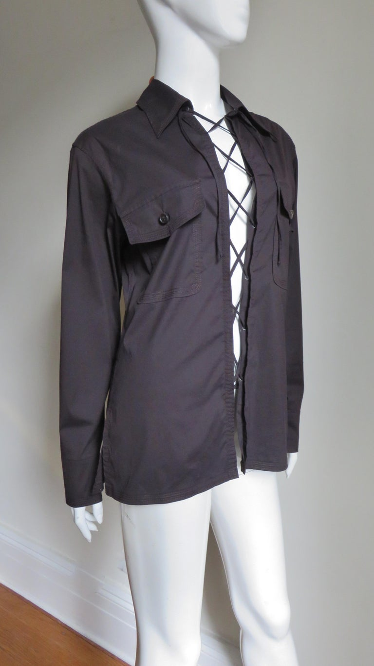 Tom Ford for for Yves St Laurent Lace up Safari Shirt For Sale 3