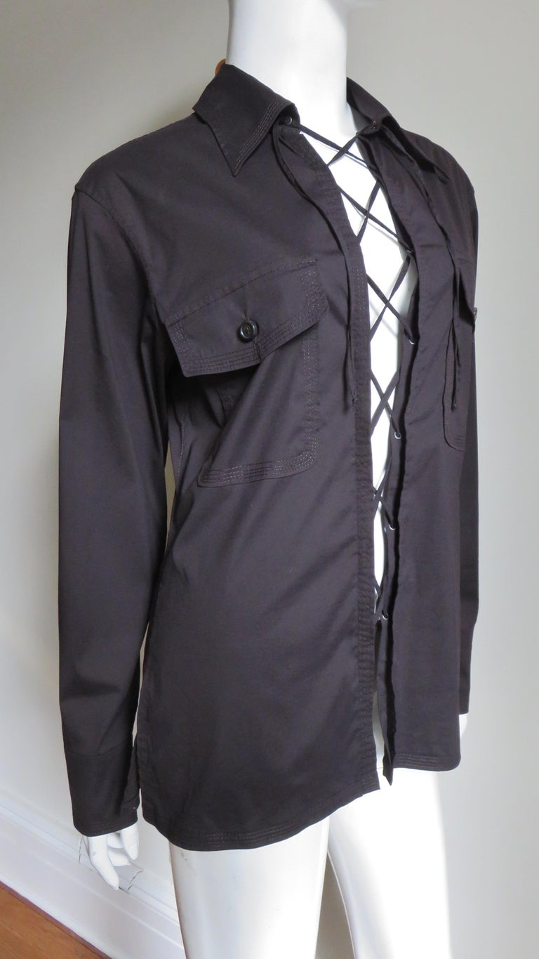 Tom Ford for for Yves St Laurent Lace up Safari Shirt For Sale 4