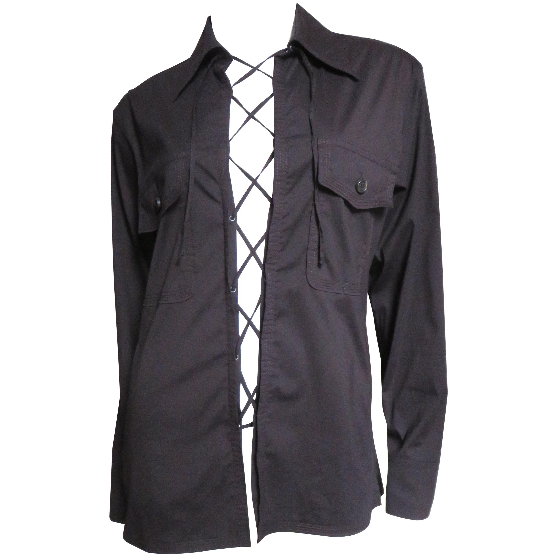 Yves St Laurent Lace up Shirt