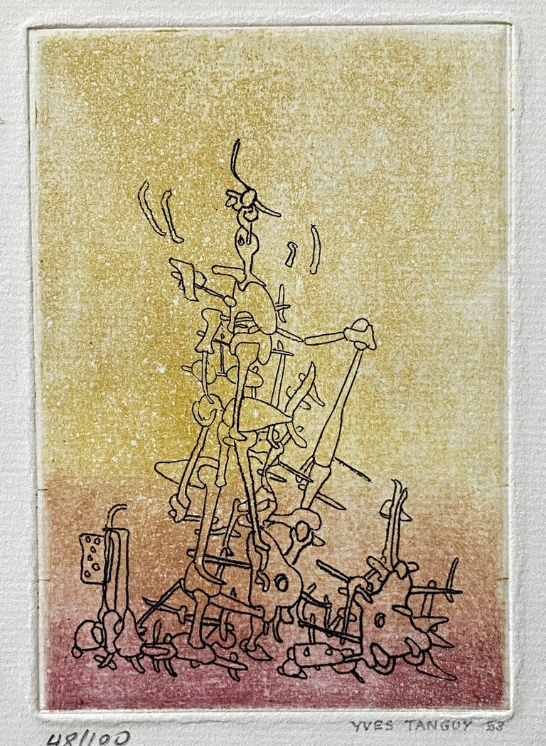 Untitled - Original Etching Handsigned Numbered /100 - Wittrock 18 - Surrealist Print by Yves Tanguy