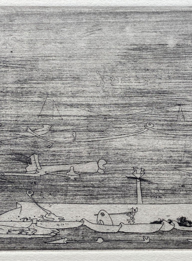 Yves Tanguy Untitled, 1937  Original etching Unsigned and unnumbered Paper size : 28 x 45 cm (c. 11 x 17,7 in) Plate size : 11,8 x 22 cm (c. 4,64 x 8,66 in) Good condition (only few foxes at margins, see last picture)  REFERENCE : Catalog raisonné