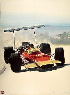 Original Vintage Poster Lotus 49 Formula One Racing Car Graham Hill F1 Champion
