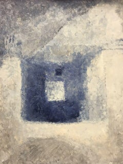 20TH CENTURY FRENCH CUBIST ABSTRACT PAINTING - BLUE GREY AND WHITE COLORS