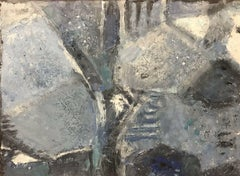 20th CENTURY FRENCH CUBIST ABSTRACT PAINTING BLUE WHITE GREY COLOURS