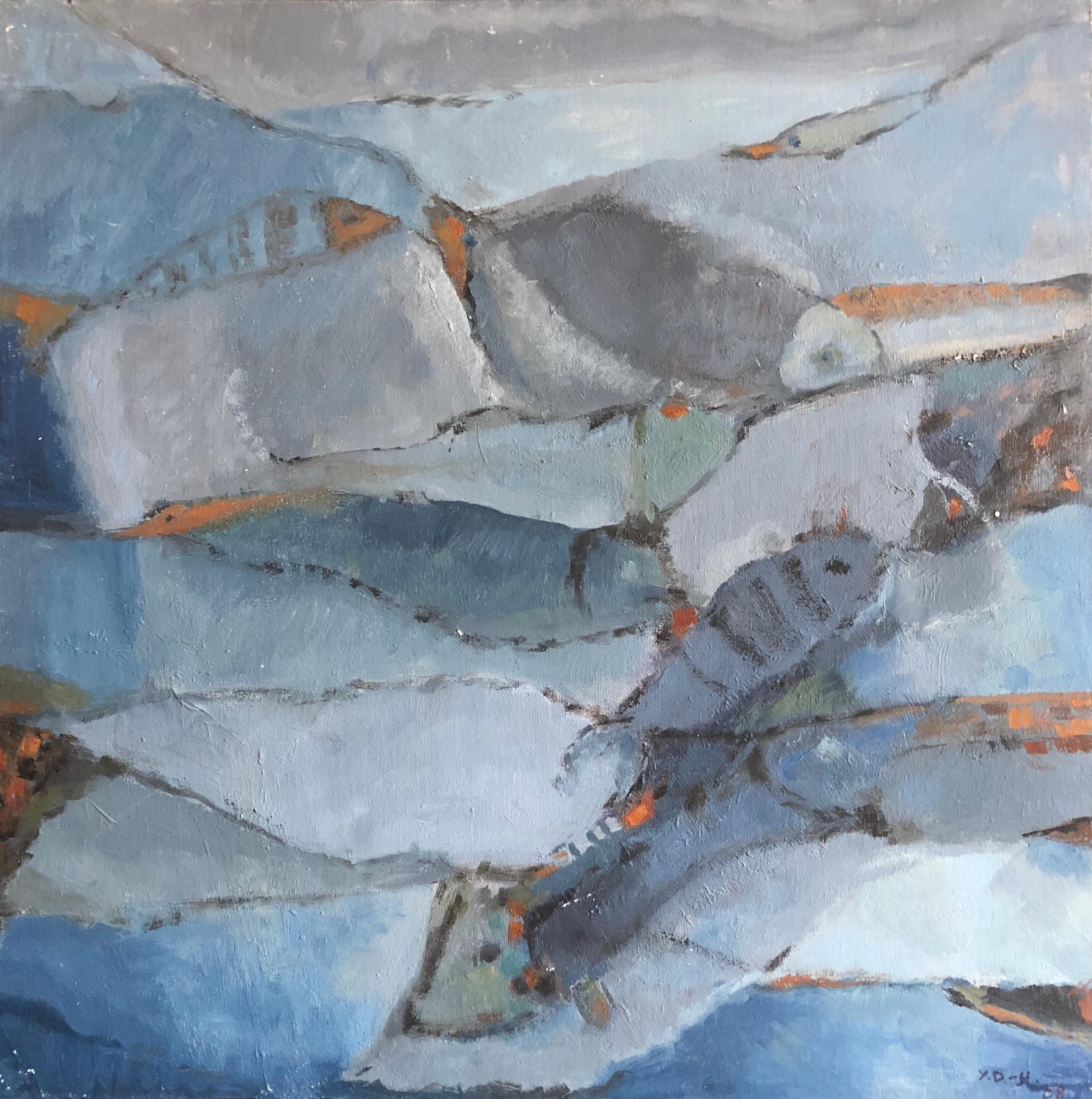 Blue Fishes French Expressionist Abstract Oil Painting
