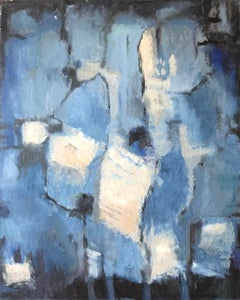 Blues & Greys French Expressionist Abstract Oil Painting