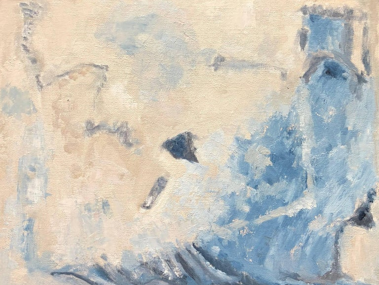 Yvette Dubois Habasque Abstract Painting - Blues & Whites French Expressionist Abstract Oil Painting