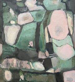 CONTEMPORARY FRENCH CUBIST ABSTRACT PAINTING - GREEN PINKS SHADES OF COLOR
