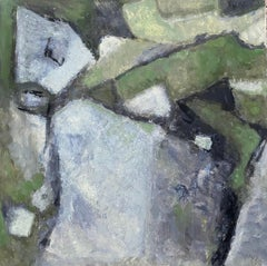 CONTEMPORARY FRENCH CUBIST ABSTRACT PAINTING - PASTEL SHADES OF GREEN