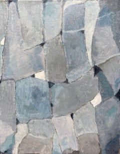 French Cubist Abstract Oil Painting - Blue Grey Pastel Shades of Colour