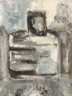 FRENCH CUBIST ABSTRACT PAINTING Blue Grey White and Black Shapes