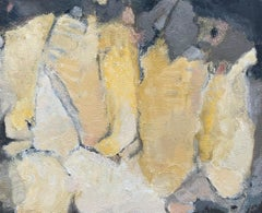 GOLDEN COLOR SHADES AGAINST DARK BLUE -  FRENCH CUBIST ABSTRACT PAINTING